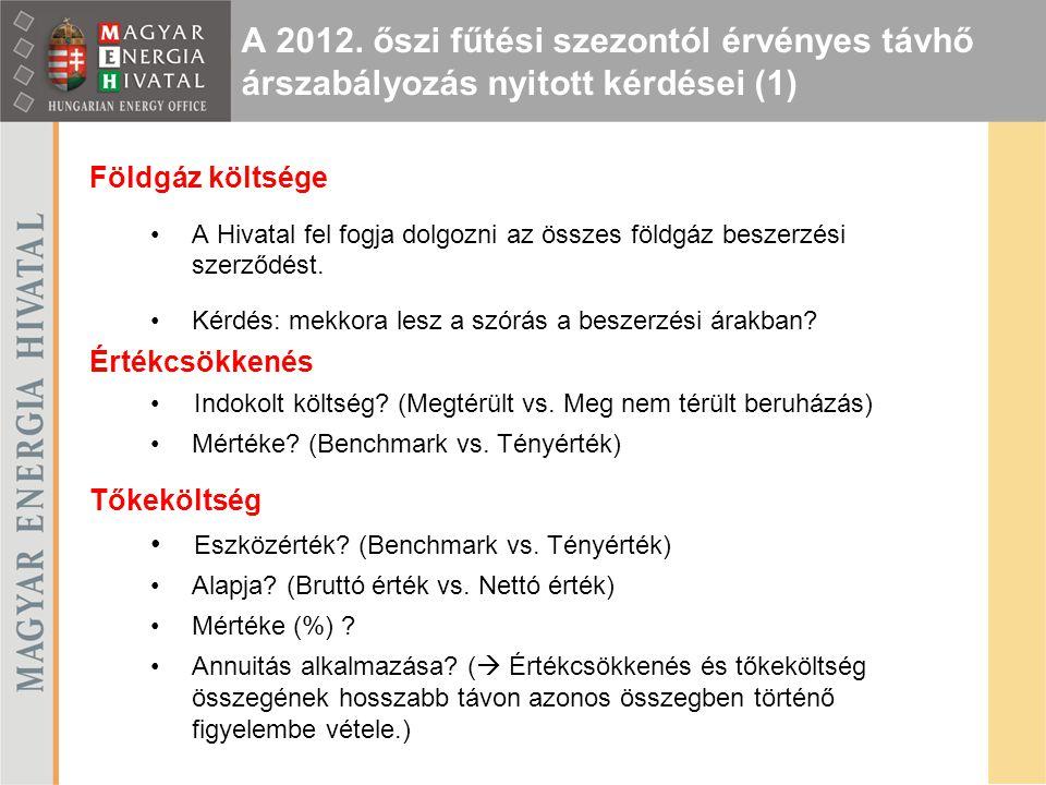 A 2012. őszi fűtési szezontól érvényes távhő árszabályozás nyitott kérdései (1)