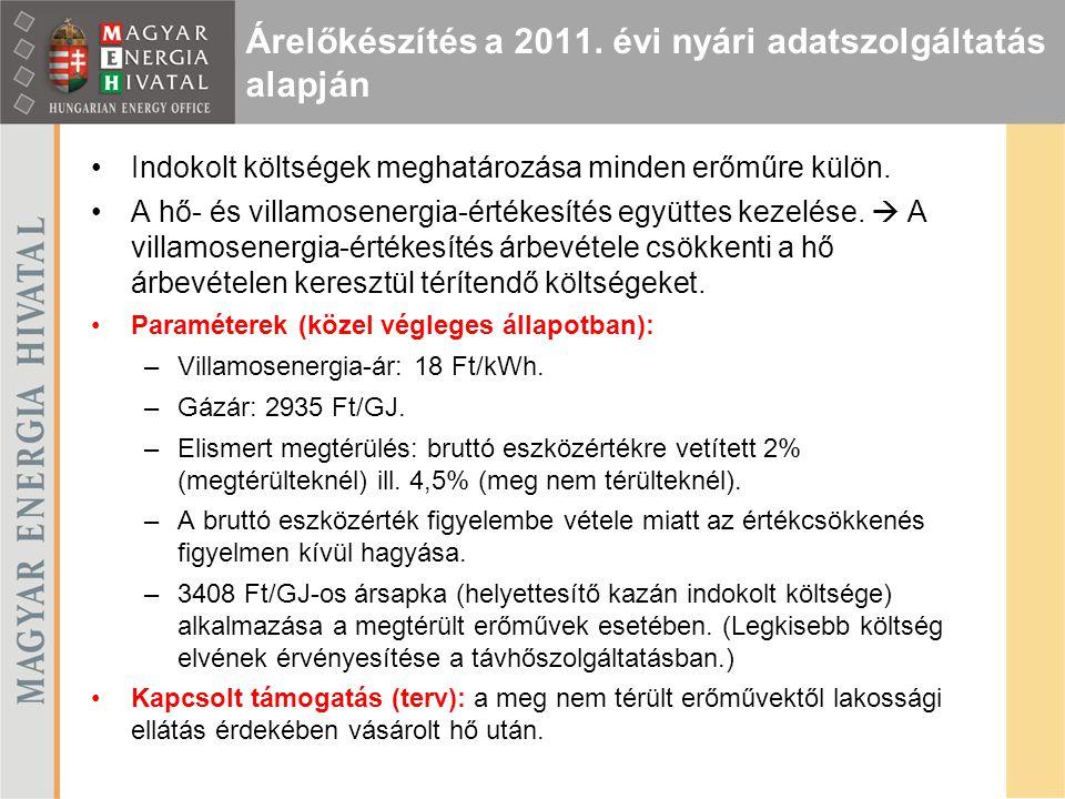 Árelőkészítés a 2011. évi nyári adatszolgáltatás alapján