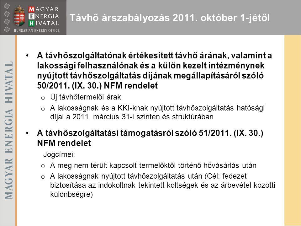 Távhő árszabályozás 2011. október 1-jétől