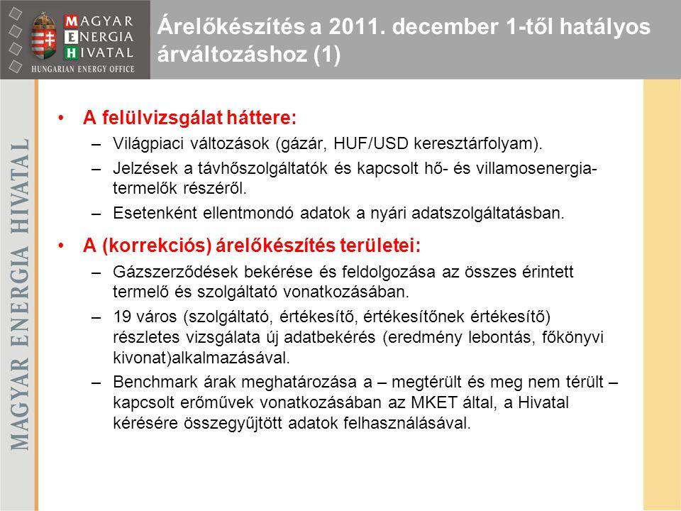 Árelőkészítés a 2011. december 1-től hatályos árváltozáshoz (1)