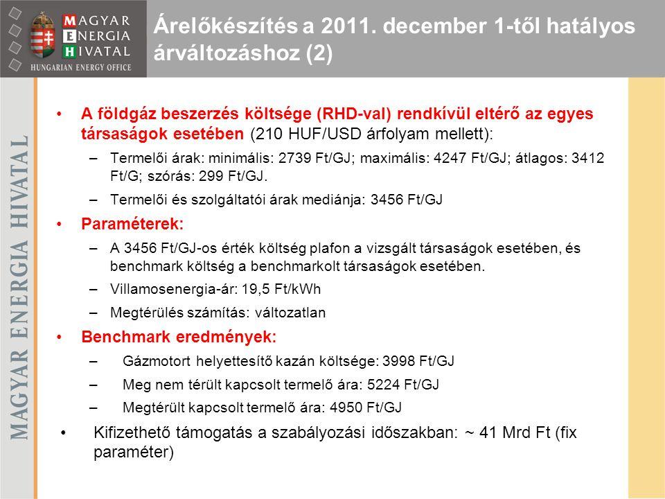 Árelőkészítés a 2011. december 1-től hatályos árváltozáshoz (2)