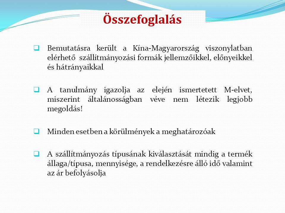 Összefoglalás Bemutatásra került a Kína-Magyarország viszonylatban elérhető szállítmányozási formák jellemzőikkel, előnyeikkel és hátrányaikkal.