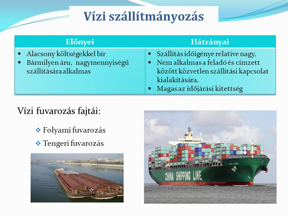 Vízi szállítmányozás Vízi fuvarozás fajtái: Előnyei Hátrányai