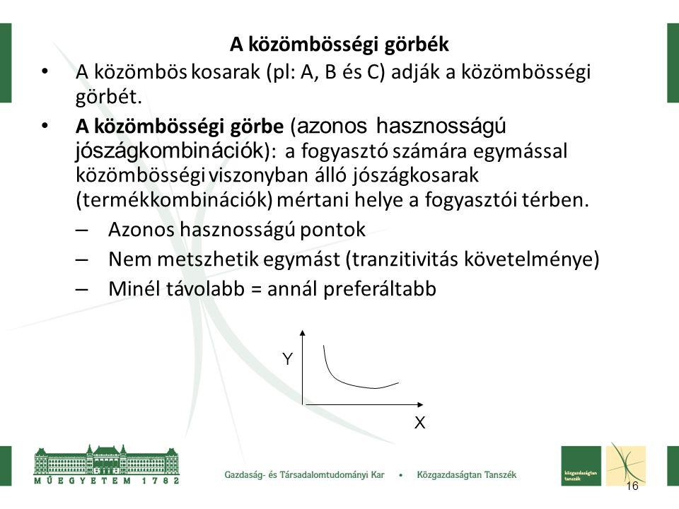 A közömbös kosarak (pl: A, B és C) adják a közömbösségi görbét.