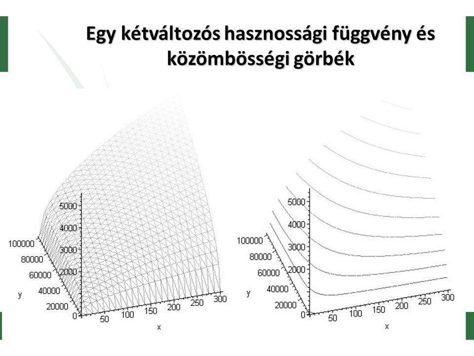 Egy kétváltozós hasznossági függvény és közömbösségi görbék