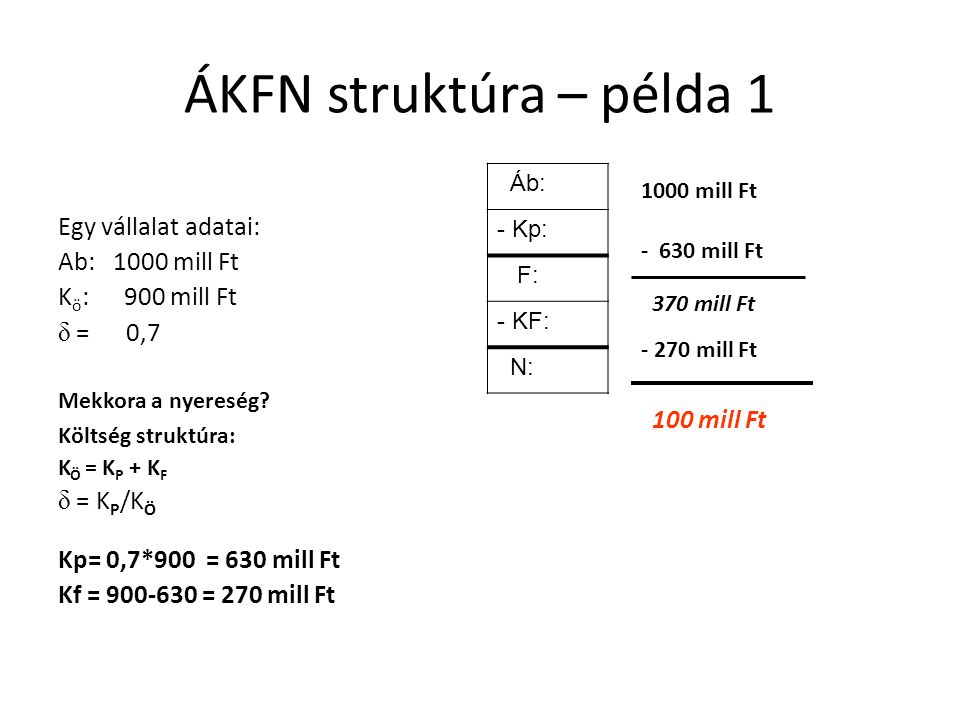 ÁKFN struktúra – példa 1 Egy vállalat adatai: Ab: 1000 mill Ft