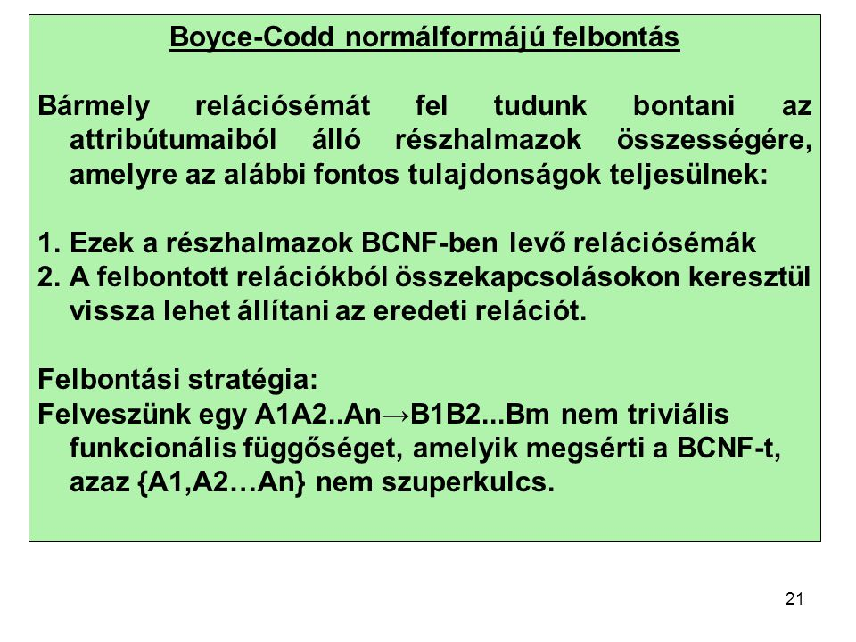 Boyce-Codd normálformájú felbontás
