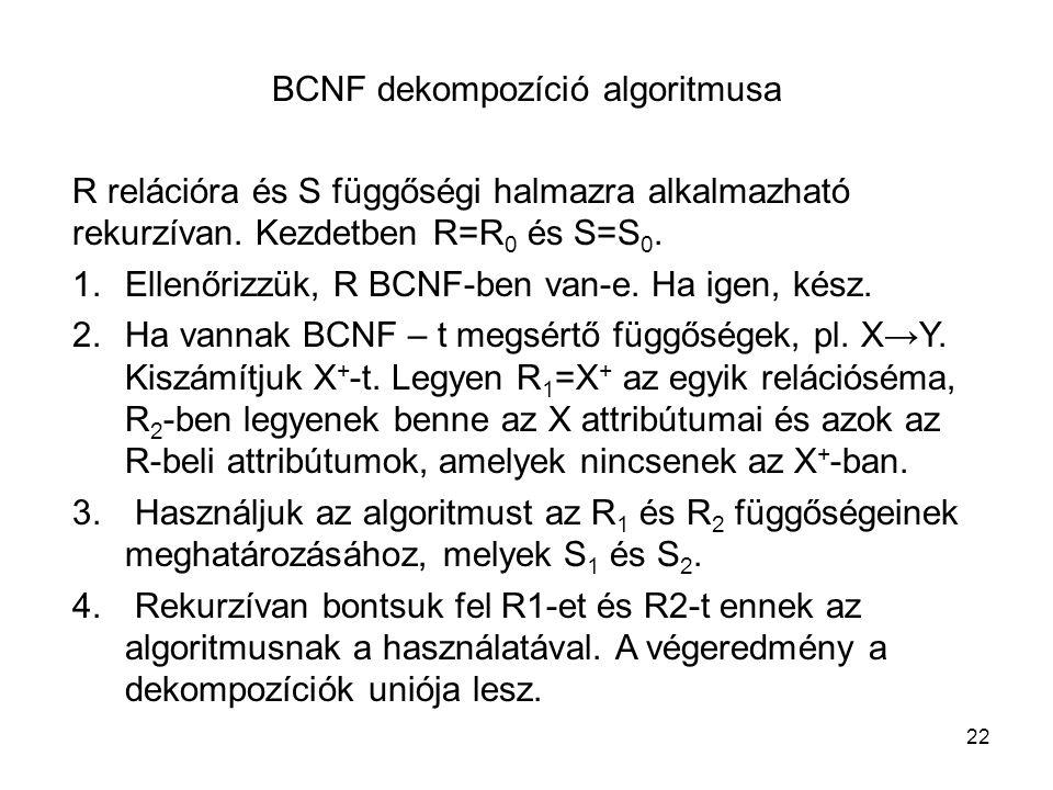 BCNF dekompozíció algoritmusa