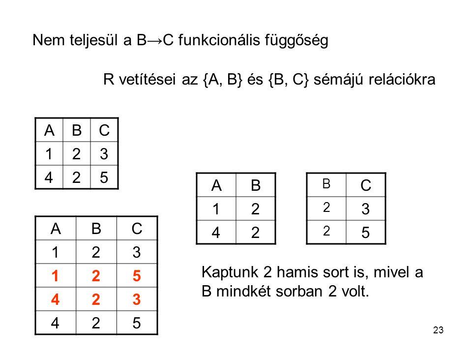 Nem teljesül a B→C funkcionális függőség