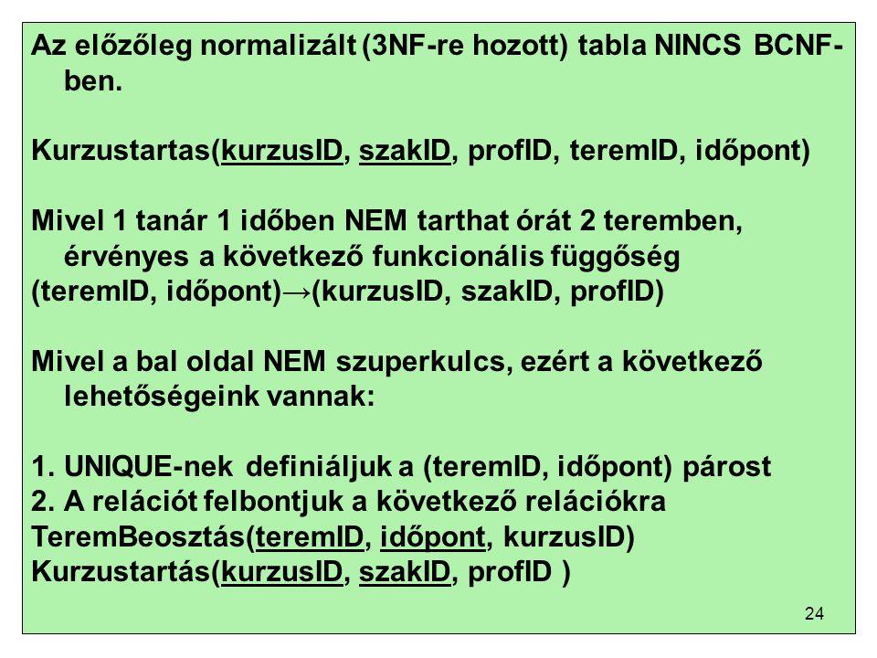 Az előzőleg normalizált (3NF-re hozott) tabla NINCS BCNF-ben.