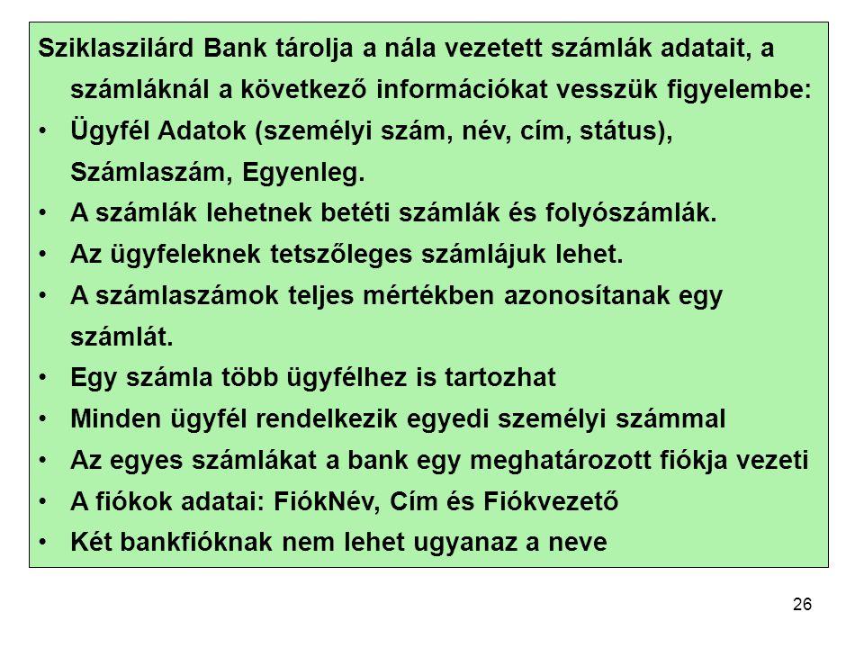 Sziklaszilárd Bank tárolja a nála vezetett számlák adatait, a számláknál a következő információkat vesszük figyelembe: