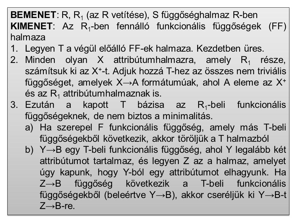 BEMENET: R, R1 (az R vetítése), S függőséghalmaz R-ben