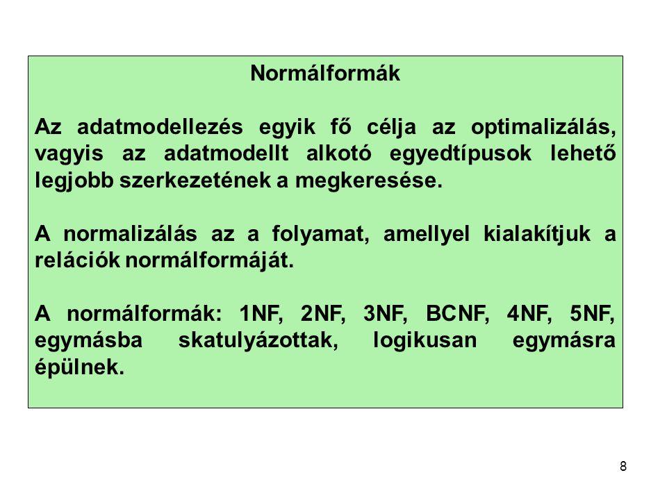 Normálformák Az adatmodellezés egyik fő célja az optimalizálás, vagyis az adatmodellt alkotó egyedtípusok lehető legjobb szerkezetének a megkeresése.