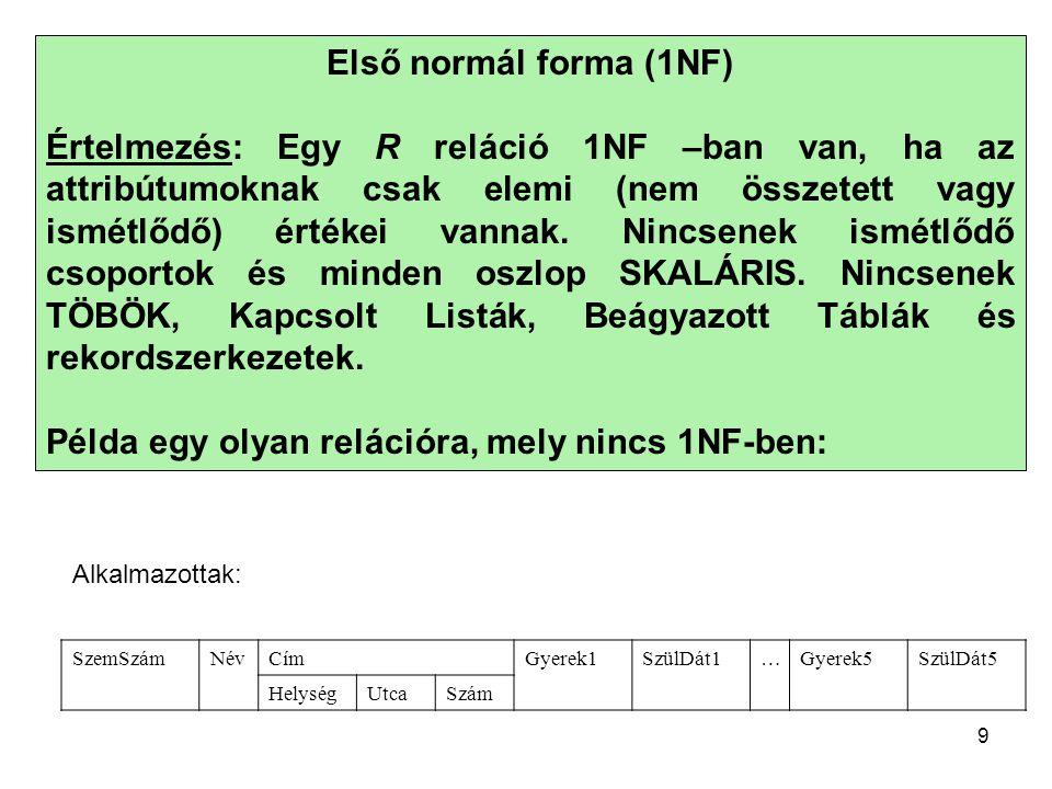 Példa egy olyan relációra, mely nincs 1NF-ben: