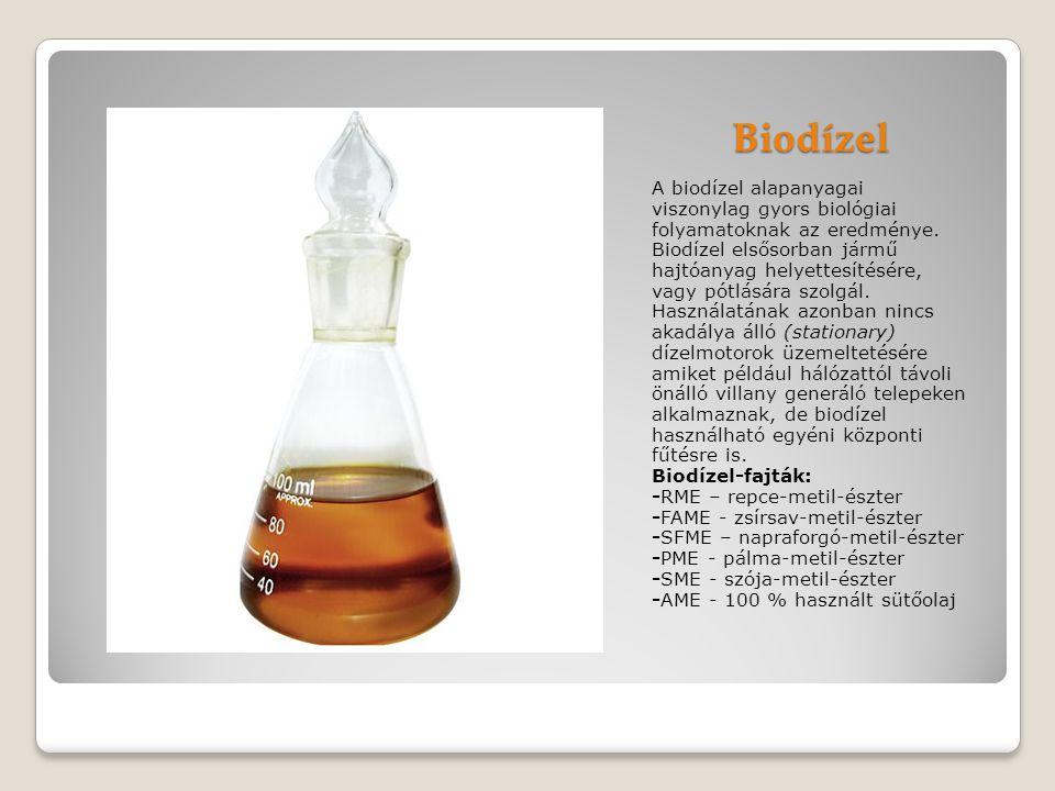 Biodízel A biodízel alapanyagai viszonylag gyors biológiai folyamatoknak az eredménye.
