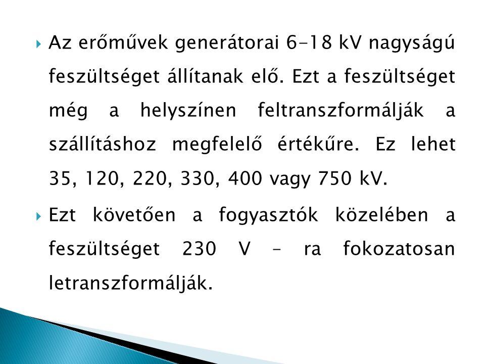 Az erőművek generátorai 6-18 kV nagyságú feszültséget állítanak elő