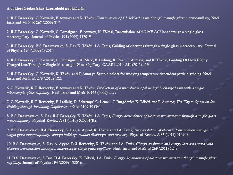 A doktori értekezéshez kapcsolódó publikációk:
