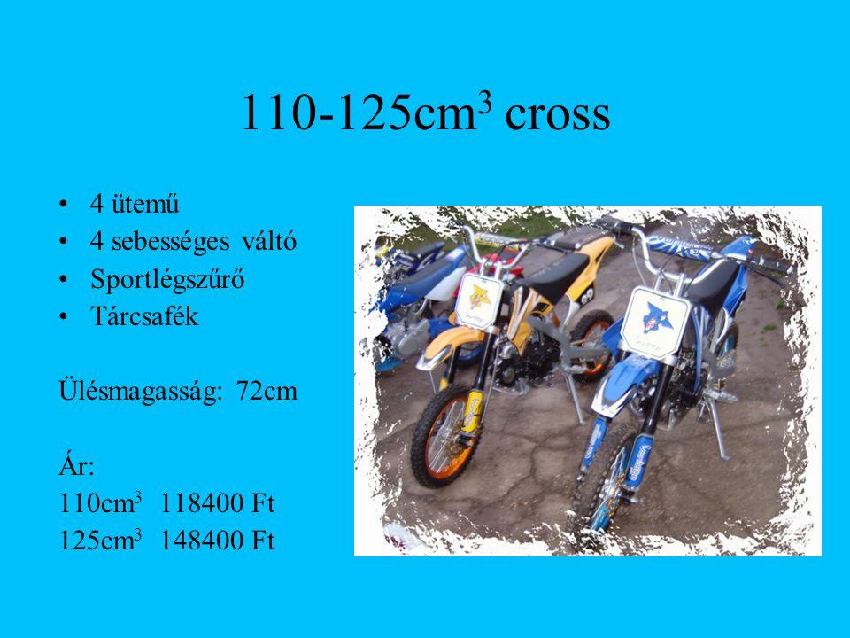 110-125cm3 cross 4 ütemű 4 sebességes váltó Sportlégszűrő Tárcsafék