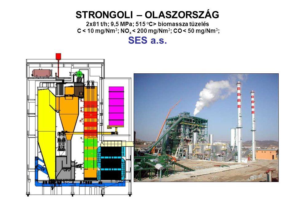 STRONGOLI – OLASZORSZÁG 2x81 t/h; 9,5 MPa; 515 oC> biomassza tüzelés C < 10 mg/Nm3; NOx < 200 mg/Nm3; CO < 50 mg/Nm3; SES a.s.