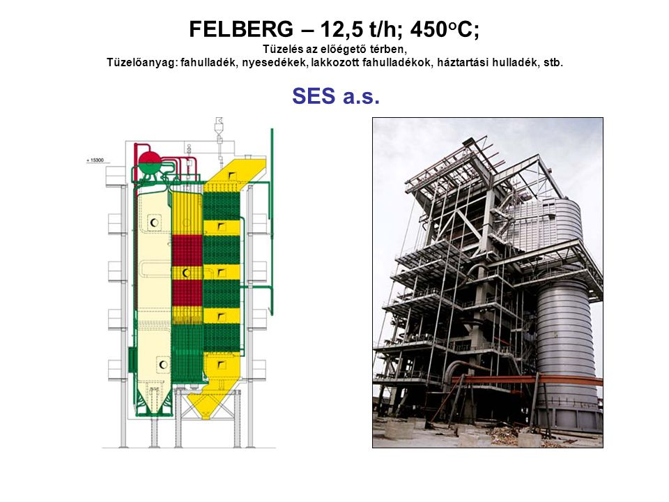 FELBERG – 12,5 t/h; 450oC; Tüzelés az előégető térben, Tüzelőanyag: fahulladék, nyesedékek, lakkozott fahulladékok, háztartási hulladék, stb.