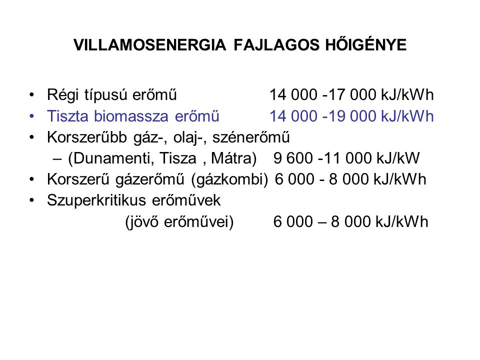 VILLAMOSENERGIA FAJLAGOS HŐIGÉNYE