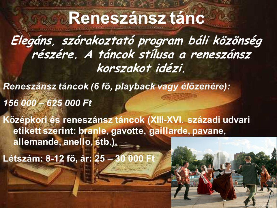 Reneszánsz tánc Elegáns, szórakoztató program báli közönség részére. A táncok stílusa a reneszánsz korszakot idézi.