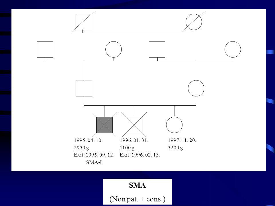 SMA (Non pat. + cons.) 1995. 04. 10. 2950 g. Exit: 1995. 09. 12. SMA-I