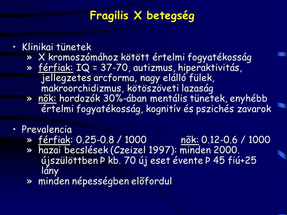 Fragilis X betegség Klinikai tünetek