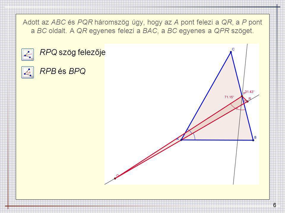 RPQ szög felezője RPB és BPQ
