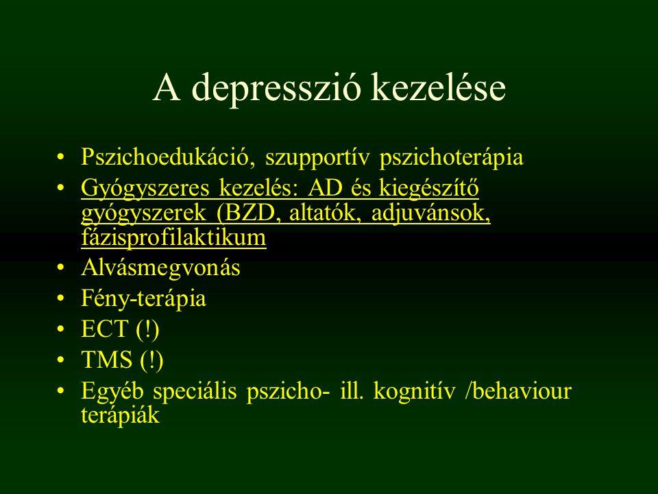 A depresszió kezelése Pszichoedukáció, szupportív pszichoterápia