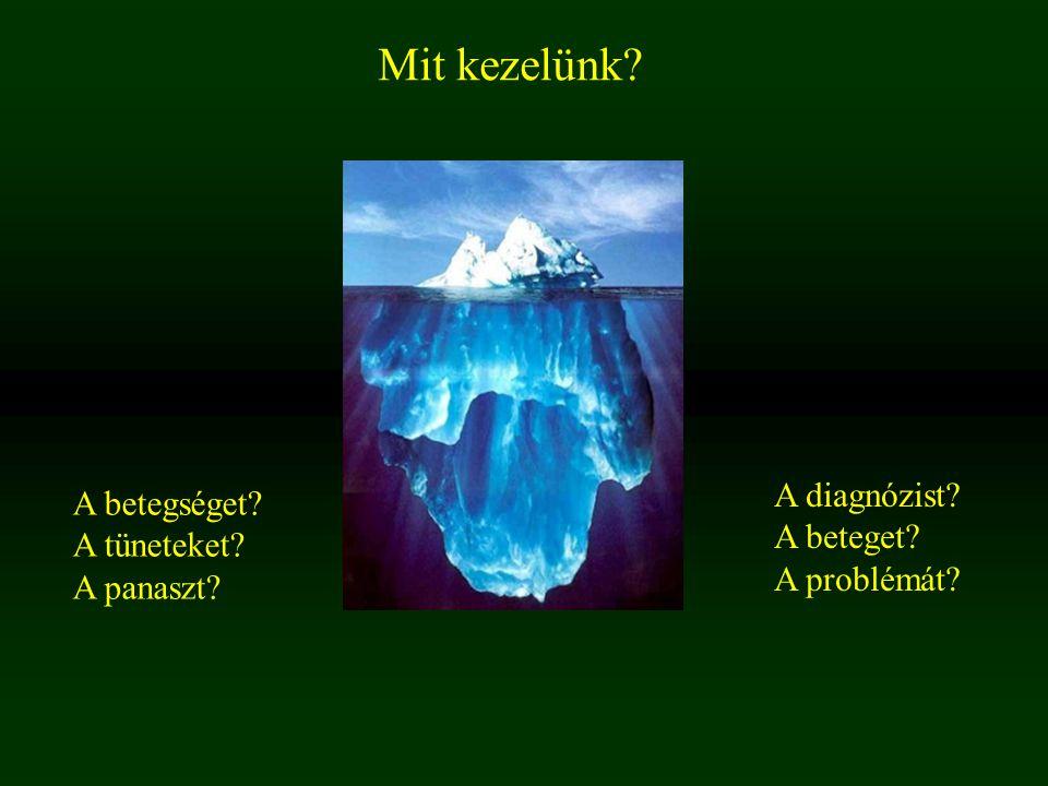 Mit kezelünk A diagnózist A betegséget A beteget A tüneteket