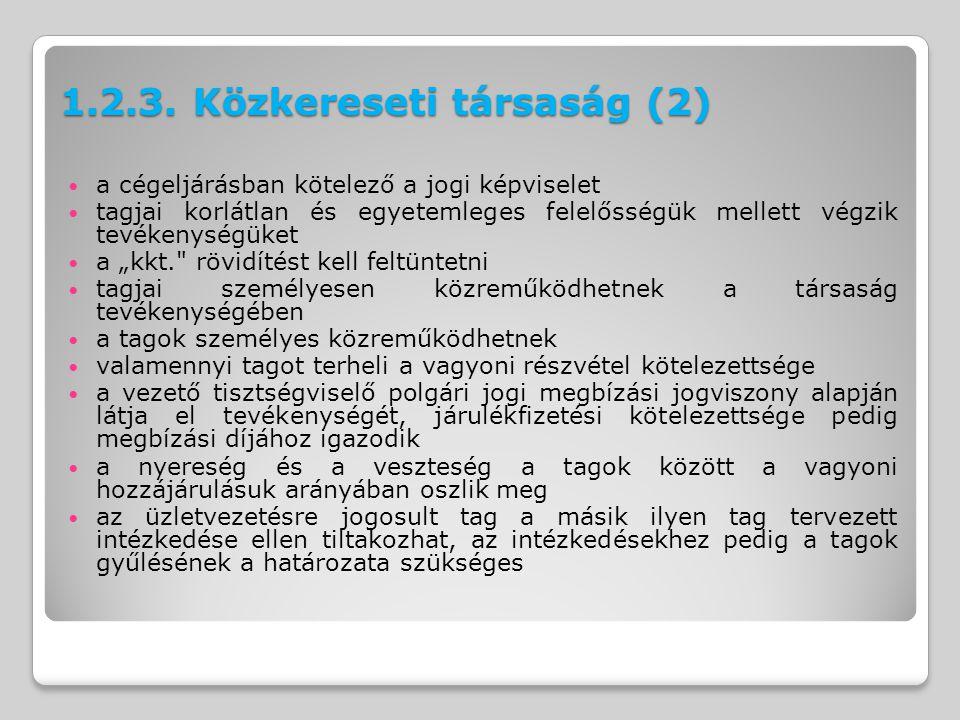 1.2.3. Közkereseti társaság (2)