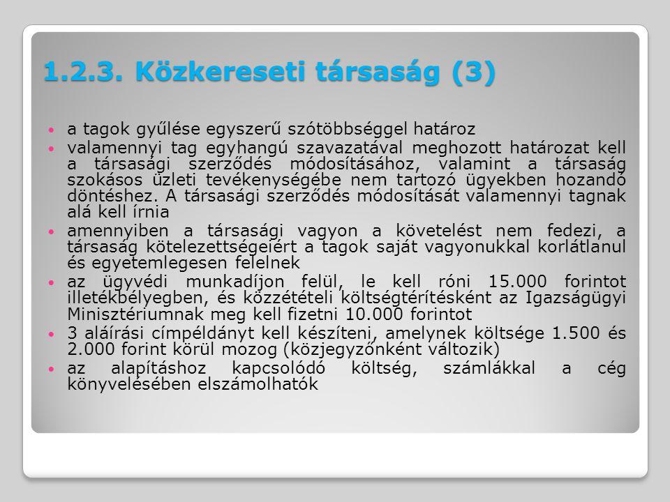 1.2.3. Közkereseti társaság (3)
