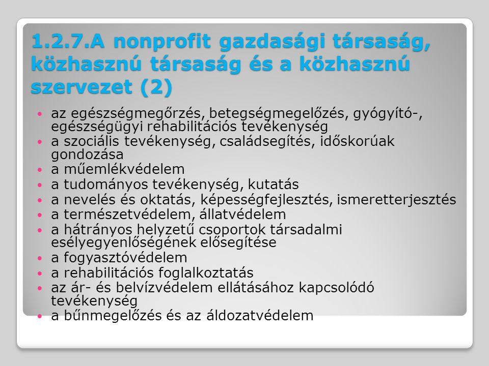 1.2.7.A nonprofit gazdasági társaság, közhasznú társaság és a közhasznú szervezet (2)
