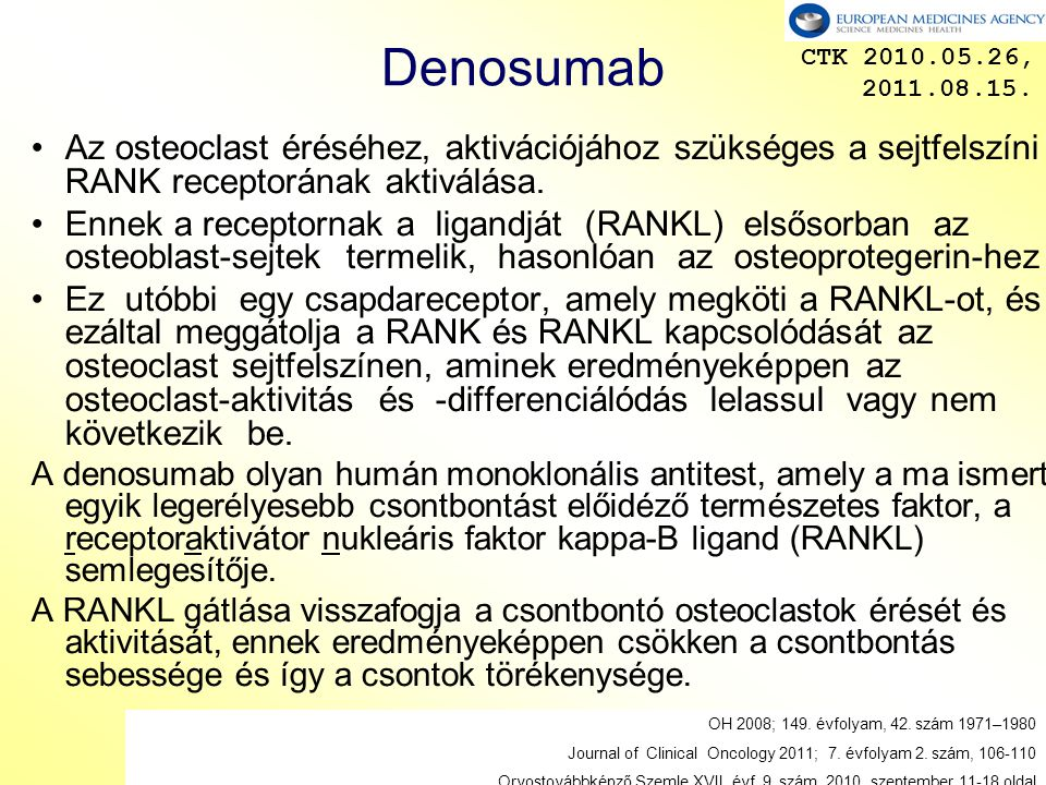 Denosumab CTK 2010.05.26, 2011.08.15. Az osteoclast éréséhez, aktivációjához szükséges a sejtfelszíni RANK receptorának aktiválása.