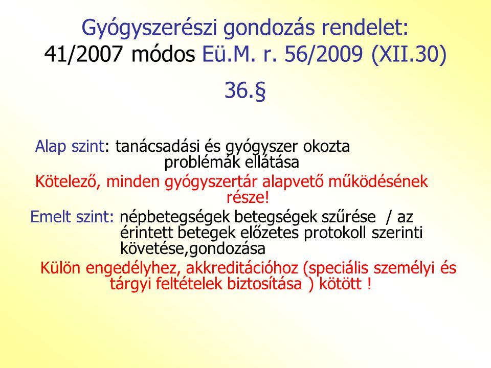 Gyógyszerészi gondozás rendelet: 41/2007 módos Eü. M. r. 56/2009 (XII
