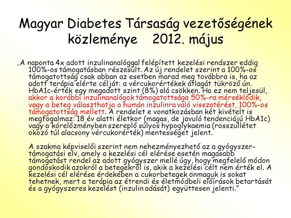 Magyar Diabetes Társaság vezetőségének közleménye 2012. május