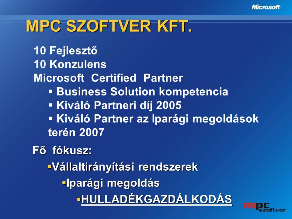 MPC Szoftver Kft. 10 Fejlesztő 10 Konzulens
