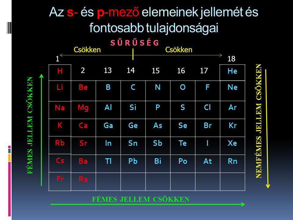 Az s- és p-mező elemeinek jellemét és fontosabb tulajdonságai
