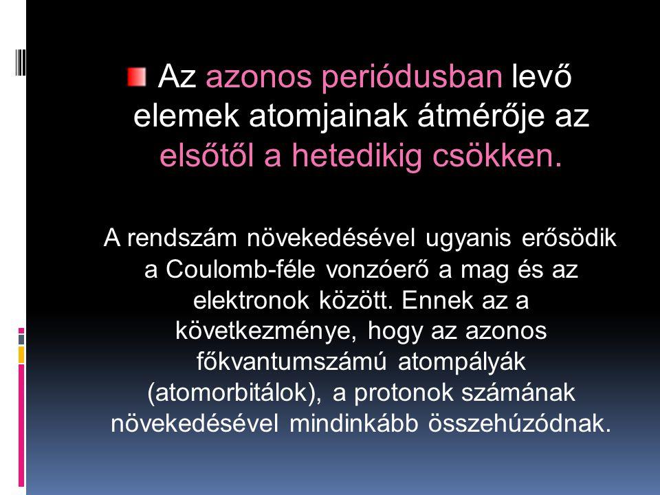 Az azonos periódusban levő elemek atomjainak átmérője az elsőtől a hetedikig csökken.