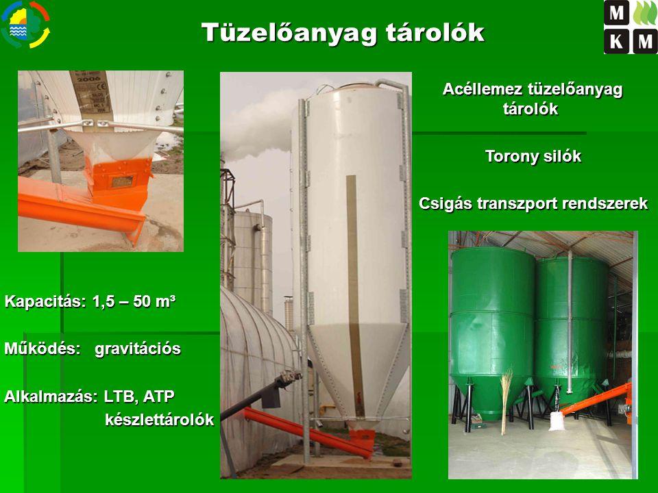 Acéllemez tüzelőanyag tárolók Csigás transzport rendszerek