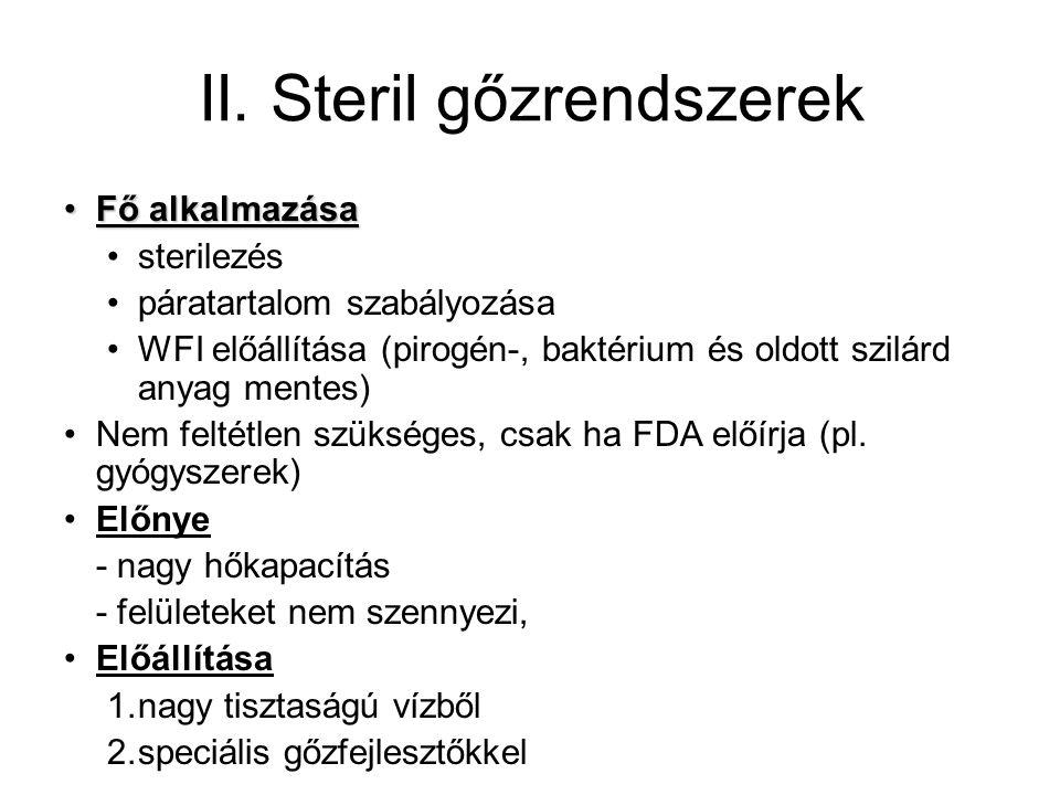 II. Steril gőzrendszerek