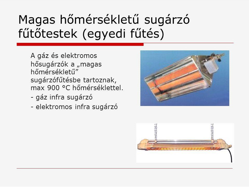 Magas hőmérsékletű sugárzó fűtőtestek (egyedi fűtés)