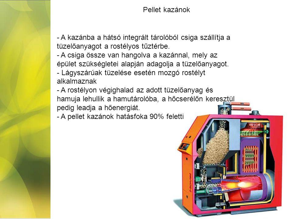 Pellet kazánok A kazánba a hátsó integrált tárolóból csiga szállítja a tüzelőanyagot a rostélyos tűztérbe.