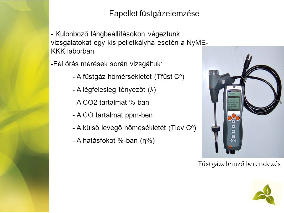 Füstgázelemző berendezés