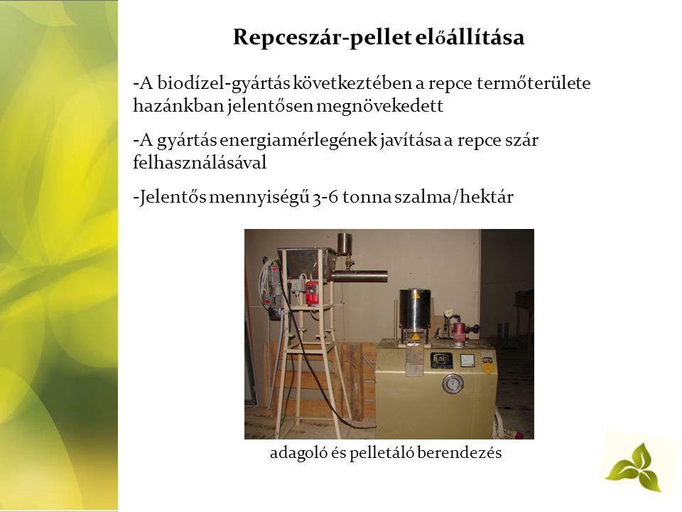 Repceszár-pellet előállítása