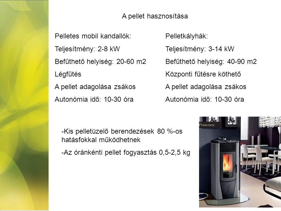 A pellet hasznosítása Pelletes mobil kandallók: Teljesítmény: 2-8 kW. Befűthető helyiség: 20-60 m2.