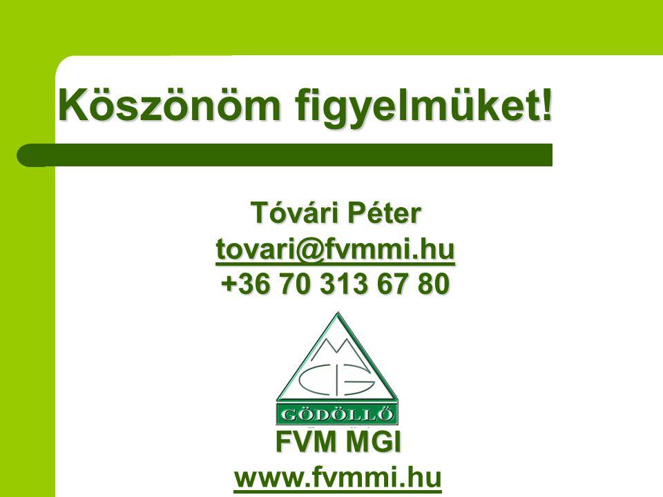 Köszönöm figyelmüket! Tóvári Péter tovari@fvmmi.hu +36 70 313 67 80