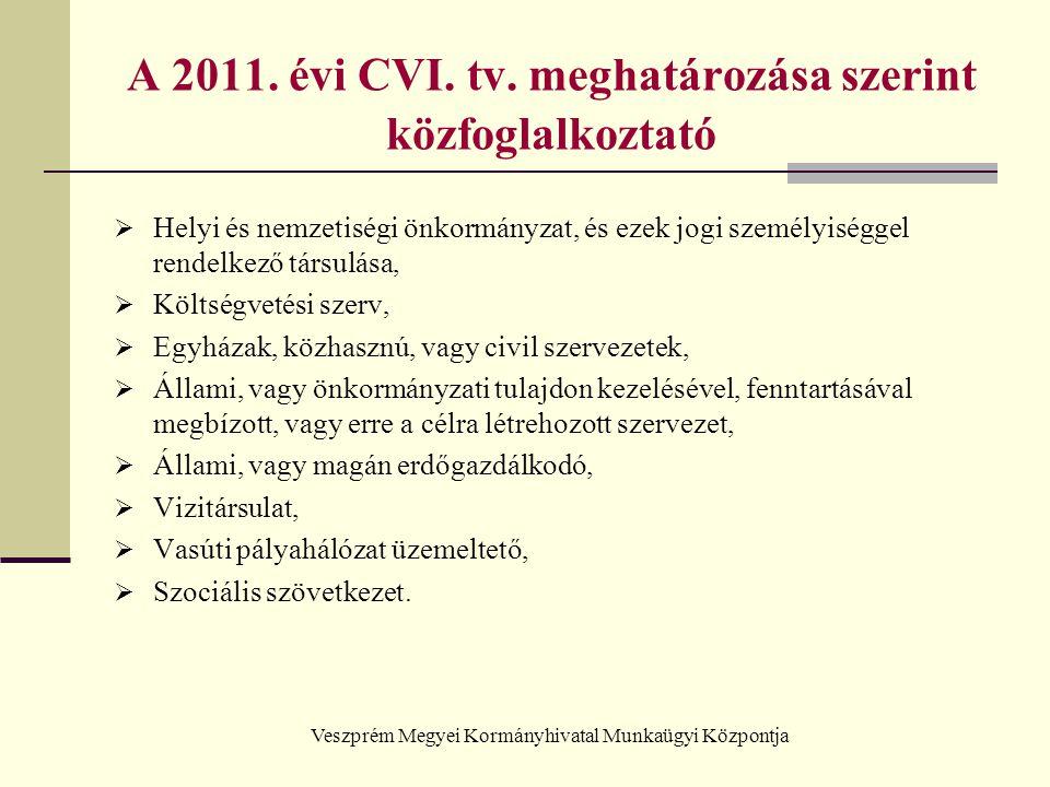 A 2011. évi CVI. tv. meghatározása szerint közfoglalkoztató