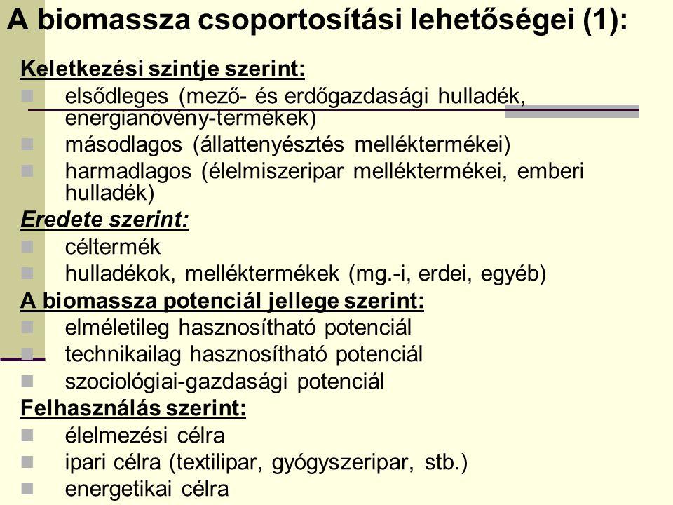 A biomassza csoportosítási lehetőségei (1):